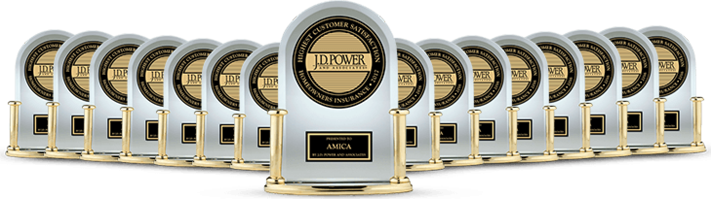 A collection of J.D. Power trophies: Highest in Customer Satisfaction Among National Homeowner Insurers, 17 Years in a Row